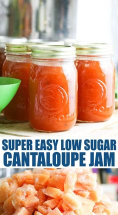 Super simple low sugar cantaloupe jam recipe. This jam is delicious! It's a great way to preserve cantaloupe and a tasty jam that the whole family loves. Les sugar and no store bought pectin! #cantaloupejam #lowsugarjam #cantaloupe #homemadejam #preservingcantaloupe Cantaloupe Jam Recipes, Pressure Canning Recipes, Canning Peaches, Jelly Recipes, Dehydrated Food, Low Sugar, Recipe Using, Cooking Time, The Help