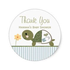 BLUE Turtle in Diapers Baby Shower Thank You Stickers
