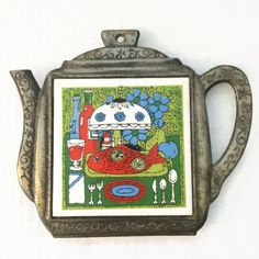 Teapot Ceramic Tile Vintage Trivet Kitchen Decor by ThriftyTheresa
