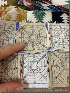 : Connie from Quiltworks & the Teeny Tiny Pineapple Project! - These tiny pineapple blocks measure in at about TWO INCHES! Pineapple Quilt Pattern, Pineapple Quilt Block, Mini Quilt Patterns, Paper Piecing Patterns, Small Quilts, Mini Quilts, Miniature Quilts, Doll Quilt, Square Quilt