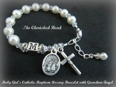 Baby Girl's Personalized Catholic Baptism Pearl Rosary Bracelet with Guardian Angel Medal
