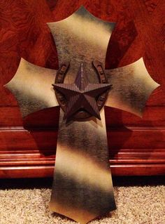 DIY western painted wooden cross