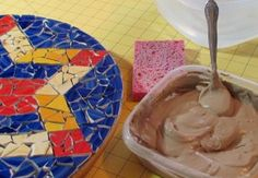How to make a simple mosaic lazy susan from broken dollar store plates!