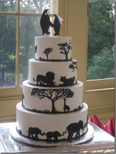 Jungle, Safari, and Zoo Cake Ideas & Inspirations Penguin Wedding, Safari Wedding, Our Wedding, Dream Wedding, Wedding Themes, Wedding Venues, Wedding Ideas, Africa Cake, African Wedding Cakes