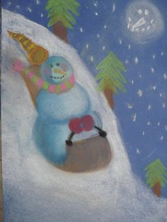 a faithful attempt: Snowmen at Night Chalk Pastel Drawings Winter Art Projects, Winter Crafts For Kids, School Art Projects, Art For Kids, Draw A Snowman, Snowmen At Night, Wine And Canvas, School Painting, Jr Art