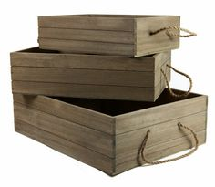 set of three driftwood storage boxes with rope handles