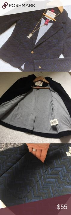 anthro cartonnier blazer Schoolgirl chic! Cartonnier for Anthropologie blue and black blazer. Chevron/diamond textured pattern. Super soft cotton jersey material. Grey jersey lining. Single button closure in front, buttons at cuffs, patch pockets on front. Size 6. In like new condition! Anthropologie Jackets & Coats Blazers