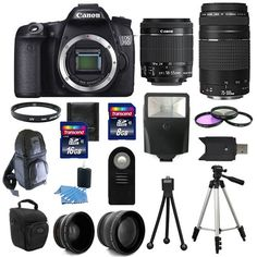 Canon EOS 70D SLR Camera + 4 Lens Kit 18-55 STM +75-300 mm + 24GB TOP VALUE KIT! #Canon