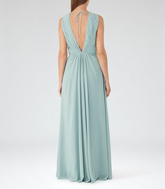 Womens Sea Glass LOW-BACK MAXI DRESS  - REISS EVIE
