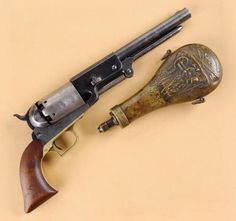"""RARE AND HISTORIC COLT WHITNEYVILLE-WALKER PISTOL """"A COMPANY # 210"""" AND ORIGINAL FLASK ISSUED AT VERA CRUZ IN 1847 TO PRIVATE SAM WILSON (TEXAS RANGER), LATER OBTAINED BY BREVET MAJOR GENERAL JOHN REESE KENLY OF MARYLAND AND BELIEVED TO BE THE FINEST EXAMPLE OF A MARTIAL WALKER EXTANT.Guns of the Old West"""