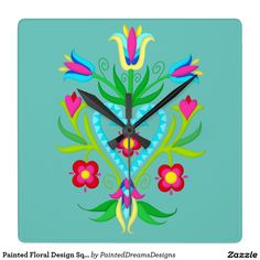 Painted Floral Design Square Wall Clock