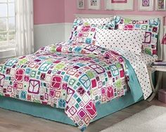 Amazon.com: My Room Peace Out Girls Comforter Set With Bedskirt, Teal, Full: Home & Kitchen