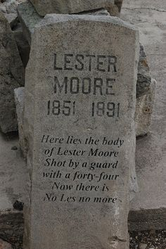 """Funny tombstone at the old Idaho State Penitentiary in Boise. There was no such inmate and similar """"tombstones"""" became popular after one fashioned in Tombstone, Ariz. Unusual Headstones, My Own Private Idaho, Cemetery Statues, Historical Sites, Submissive, In This World, Boise Idaho, Markers, Famous Tombstones"""