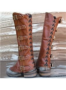 Popular Buckles Lace-Up Knee High Flat Boots