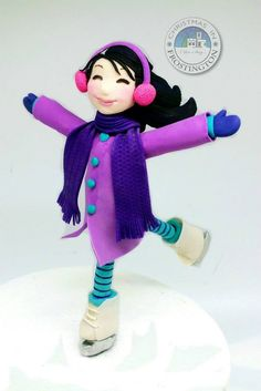 Violet Ice Skater From Frostington! - Cake by Pauline (Polly) Soo - Pauline Bakes The Cake! Ice Skating Cake, Ice Skating Party, Skate Party, Cake Models, Rainbow Unicorn Party, Ice Rink, Ice Skaters, Fondant Toppers, Sugar Art