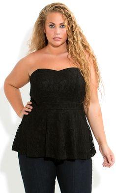 City Chic - LACEY LACE CORSET - Women's plus size fashion