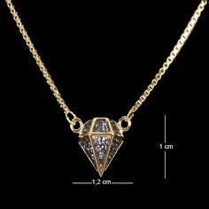Corrente folheada pingente diamante com zircônia