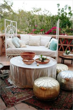 Add some glam with Gold and Silver Moroccan Poufs