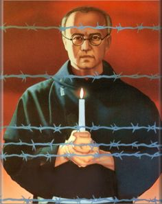 St. Maximilian Kolbe, Priest & Martyr. In 1941, Maximilian was arrested by the Gestapo when the Germans invaded Poland & was sent to the Auschwitz concentration camp. He took the place of a married prisoner, who had a family, in a retaliatory punishment in the camp. Ten prisoners were being executed because one prisoner had escaped. Maximilian volunteered to die in place of the married prisoner & he was condemned to a slow death in a starvation bunker & fatal injection.  Feast Day Aug 14…