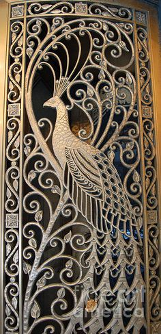 Art Nouveau Peacock Door - The Palmer House in Chicago