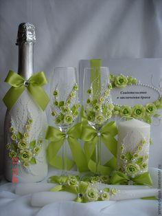 """Купить свадебный комплект """"Феерия"""" в зелёном цвете. - зеленый, свадебные аксессуары, свадебное шампанское"""