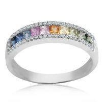 Evelyn - pierścionek z diamentami i szafirami Biżuteria - YES 3.295,00