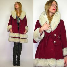 60s Mod Raspberry Velvet with SHEARLING Trim Stroller Princess Coat. $245.00, via Etsy.