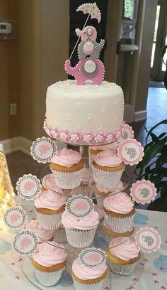 Elephant themed baby shower cake