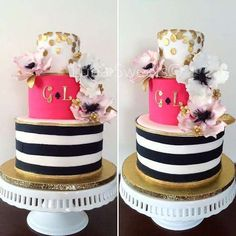 Glam cakes at a Kate Spade bridal shower party! See more party planning ideas at CatchMyParty.com!