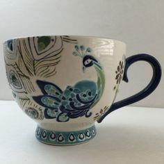 Dutch Wax Hand Painted Ceramic Peacock Coffee Tea Cup Mug with Tea Biscuits #CoastlineImports