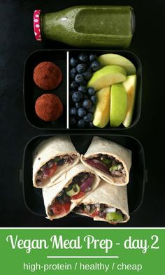 High-Protein Vegan Meal Prep for Weight Loss Vegan Hummus Wraps with Chocolate-Oat Protein Bites Meal Prep High Protein Vegan Recipes, Vegan Foods, Vegetarian Recipes, Healthy Recipes, Oats Recipes, Healthy Protein, Delicious Recipes, Cooking Recipes, Fruit Smoothies
