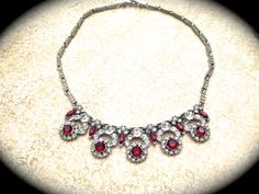 Red Rhinestone Vintage Necklace-Unsigned Designer Vintage Necklace Pendant- Art Deco Red Rhinestone Flower- Victorian Necklace #etsygifts - pinned by pin4etsy.com