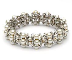 USABride Rhinestone & Ivory Pearl Elegant Bracelet 1338 IV:Amazon:Jewelry