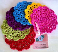 crochet gift idea, crochet coasters, stitch them together and make a scarf :)