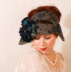 Blue cloche Floral hat 1920s hat Cloche hat Fabric hat Fall hat Flapper headband Winter hat Flapper cloche Grey blue hat