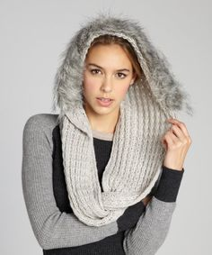 La Fiorentina heather knit and faux fur hooded infinity scarf