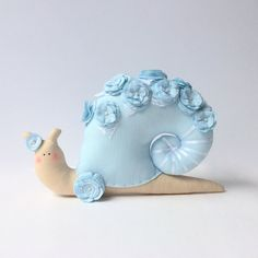 Snail toy Shabby chic toy blue plush Snail. by CherryGardenDolls