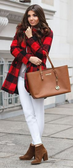Red And Black Tartan Coat by