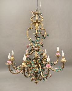 A Late 19th Century Gilt Bronze and French Porcelain Rococo Revival Eight Light…