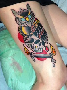 tattoo old school / traditional ink - owl with skull (by Destroy Troy)