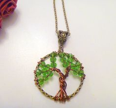 Wirewrapped Bronze Tree of Life Pendant Necklace  with Green Crystal Beads…