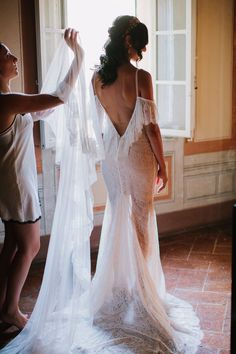 French lace off the shoulder wedding dress