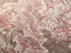 Vintage Cotton Curtain Interiors Fabric 'Rhoda' Screen Print Nouveau Fabrics