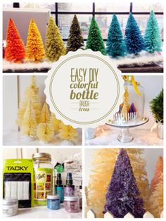 How to Make Bottle Brush Holiday Trees. Easy tutorial of bleaching the green trees, coloring them some fun colors. Make cute colored trees to match you project or holiday decor.