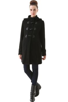 a02ba66667619 Momo Maternity Women's Maisy' Wool Blend Pleated Duffle Toggle Coat  Maternity Fashion, Wool Blend