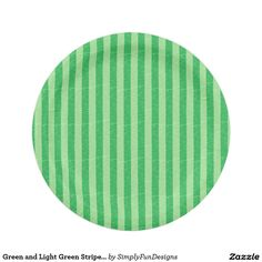 Green and Light Green Stripes Paper Plates 7 Inch Paper Plate