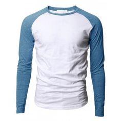 Polera Camiseta Blanca Manga Larga Celeste -