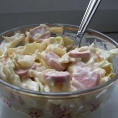 Virslis káposztasaláta Hungarian Cuisine, Hungarian Recipes, Potato Salad, Bacon, Salads, Potatoes, Dishes, Cooking, Ethnic Recipes