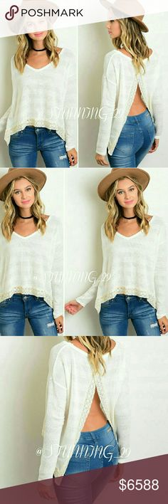 **ARRIVING SOON ** CREAM OPEN BACK SWEATER ADORABLE & SEXY SWEATERS W/ AN OPEN BACK LOOK, SOO CUTE W/ A BRALETTE / TOP UNDERNEATH!  FINISHED OFF WITH DETAILED LACE. GO FOR A RELAXED LAYERED CHIC LOOK, OR GO FOR A SEXY LOOK TOO! ? HIT LIKE NOW FOR A SHIP DISCOUNT WHEN THESE ARRIVE ✔BUNDLE 3 ITEMS GET 25 % OFF ✔ ( PRICED HIGH FOR A DISCOUNT ) THESE WON'T BE OVER $40 MORE INFO AVAILABLE WHEN THESE ARRIVE Stunning_29  Sweaters Cardigans