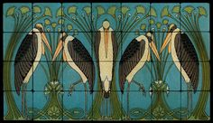 Image detail for -28x16 Art Nouveau Cranes Fine Art Tiles for Kitchen | eBay